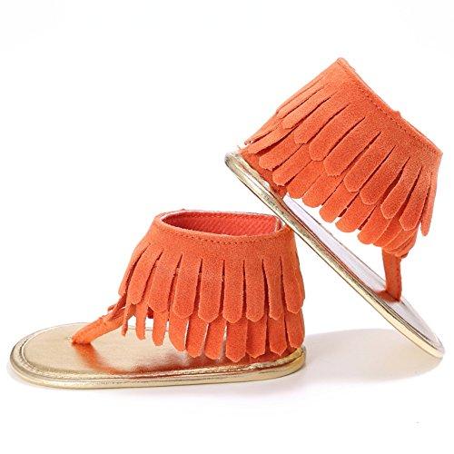 MiyaSudy Sandales Enfant Bébés Filles Princesse Gland Frotter PU Cuir Walker Premières Chaussures Orange