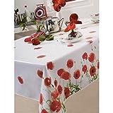 Nappe en toile cirée rectangulaire 140x250 cm Coquelicot red poppy rouge
