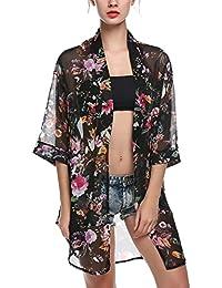 Las mujeres de aimerfeel impreso floral de la gasa de la blusa kimono Cardigan Tops,