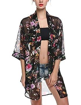 Las mujeres de aimerfeel impreso floral de la gasa de la blusa kimono Cardigan Tops, bikini encubrir, beige o...