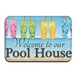 hanbaozhou Welcome to Our Pool House Theme Anti-Slip Door Mat Home Decor Indoor Outdoor Entrance Doormat Rubber Backing 23.6 X 15.7 Inches