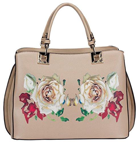 Kukubird Ciara Gedruckt Gespiegelten Rose Design-Einkaufstasche Mit Kukubird Staubbeutel Beige