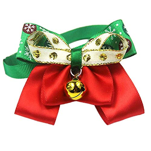 H-ONG Pet Bowtie Collar Christmas Dog Bow Tie Collar Puppy Cat Dog Neck Bow with Bell Adjustable Pet Collars for Dogs Cats Puppy Neck Decoration Christmas Holiday Party Decor Pet Supplies