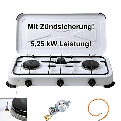 Campingkocher 3 flammig Zündsicherung Gasschlauch Manometerregler Gaskocher 2 4