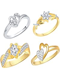 VK Jewels Gold And Rhodium Plated Alloy Ring Combo Set For Women & Girls Made With Cubic Zirconia - COMBO1557G...