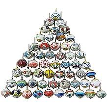 Surtido de multi color cajones de cerámica pomos de las puertas de armario tira de las perillas de la India Mix