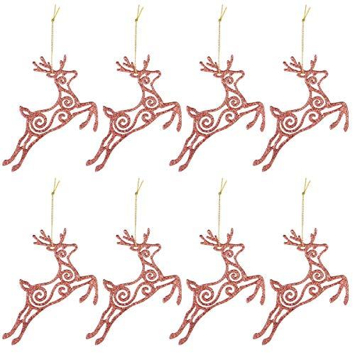 Domowin palline di natale, palline per albero di natale palle sfere addobbi albero di natale palline addobbi natalizie palline (8 pezzi cervo oro rosa)