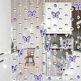 Xuzin Vorhang Crystal Beads Schmetterling Vorhang Stränge, Kronleuchter Kette, Perlen String Roll für DIY Hochzeit Weihnachten Dekor Ornamente (Trans) (Pink) (hell lila) by (Farbe : Light Purple)