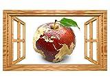3D Wandtattoo Apfel Europa Karte Afrika Weltkarte Bild selbstklebend Wandbild sticker Wohnzimmer Wand Aufkleber 11G756, Wandbild Größe F:ca. 162cmx97cm