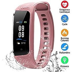 Montre Connectée Écran Couleur Bracelet Connecté Étanche IP68 Podomètre GPS Fitness Tracker d'Activité Cardiofréquencemètre, Rappel Féminin, Moniteur du Sommeil, Smartwatch Sport Enfant Femme Homme