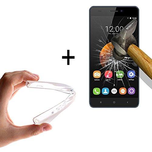 WoowCase - [ Oukitel C3 Schutzhülle Silikon Transparent [ +1 Schutzglas ] 9H Panzerglas Bildschirm Schutzfolie, Hülle Case TPU