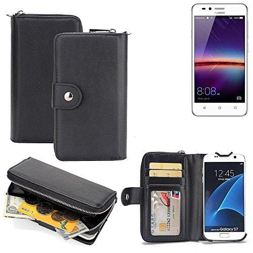 K-S-Trade 2in1 Handyhülle für Huawei Y3 II Dual-SIM hochwertige Schutzhülle & Portemonnee Tasche Handytasche Etui Geldbörse Wallet Case Hülle schwarz