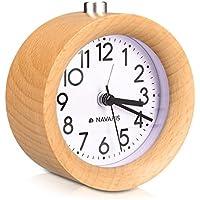 Navaris Reloj Despertador analógico - Alarma Despertador con luz y Sonido - Reloj Retro de Madera Natural Color marrón Claro - con función Snooze