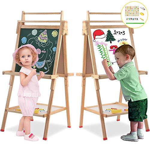 Arkmiido lavagna per bambini 3 1Lavagna magnetica Legno doppia faccia,Vernice liscia superficie Non bava,Lettere magnetiche metro nastro gesso e