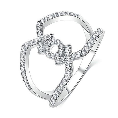 AMDXD Bijoux Plaqué Argenté Bagues de Fiançailles pour Femme Lettre Xox Argent Taille 61.5