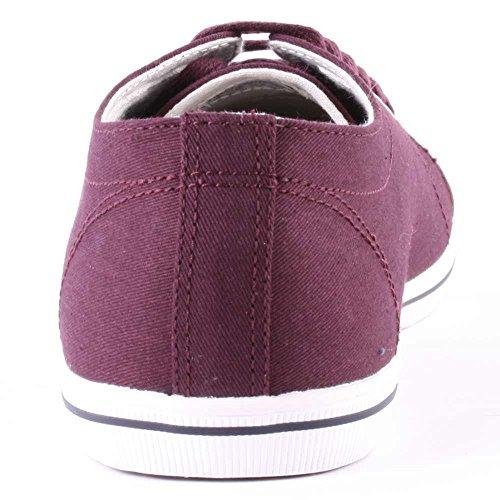 Fred Perry Kingston Twill Mahoganyl B6259799, Herren Sneaker Dunkel Rot