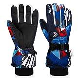 coskefy Kinder Handschuhe Winter (Blau-Rot, 3-5 Jahre alt)