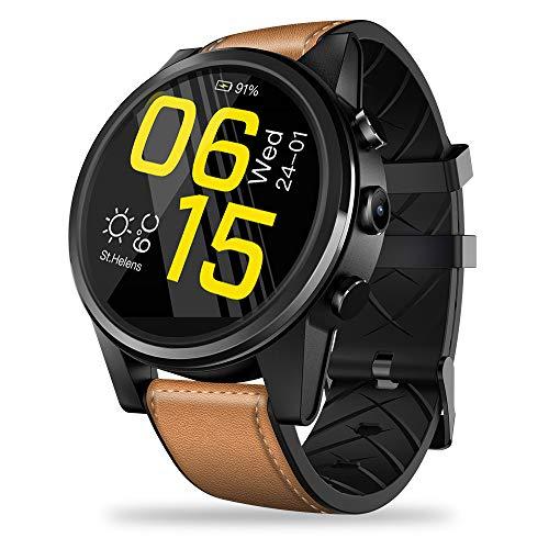 JS Smart Watch de 4G LTE, 7.1.1 Quad Core 16GB + 1GB 5MP Cámara 600mAh 1,6 Pulgadas Pantalla de Cristal con Pantalla multitáctil LTPS Reloj Deportivo para iOS/Android,Brown