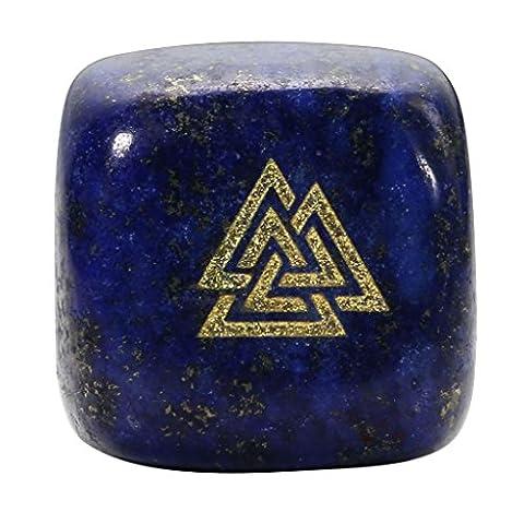 JOVIVI Würfel Dekoration Gravur Sandstrahlen Drei-Dreieck Valknut Reiki Symbol Stein