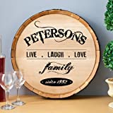 Personalized Wine Barrel Home Decor Sign (Live Love Laugh) by JDS