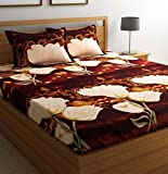 #5: Shop4Indians 3D Glace Cotton King Size Double Bed Sheet With 2 Pillow Covers