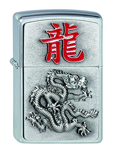 Zippo Feuerzeug 2002452 2012 Year of The Dragon Benzinfeuerzeug, Messing, Satin Chrome, 1 x 3,5 x 5,5 cm (Zippo Feuerzeug Dragon)