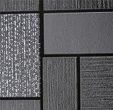 Papier peint en vinyle lavable pour cuisine et salle de bain Noir/blanc pailleté