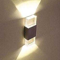 Glighone Apliques de Pared 2 LED 6W Lámpara de Pared Luz Moderna Luz de Ambiente Iluminación Interior para Decoración Dormitorio, Luz Blanco Cálido
