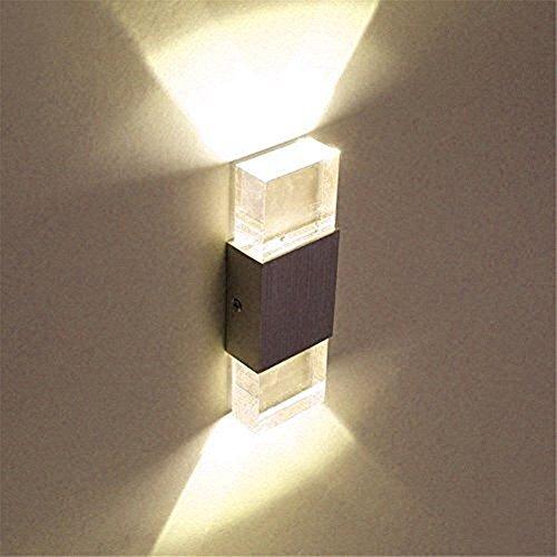 Glighone 6W LED Wandlampe Innen Wandleuchte Modern Up Down Wandbeleuchtung Sconce Flurlampe für Treppenhaus Wohnzimmer Lichter Schlafzimmer Lampen Korridor, Warmweiß (Für Oberflächenmontage 2-licht)