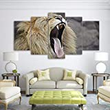 gwgdjk Picture Wall Art Home Decoration Modulare 5 Pannelli Animal Lion Living Room Stampato su Tela Moderna Stampata su Poster-30X40/60/80Cm,Without Frame