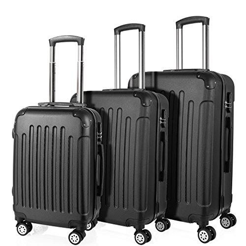 Prasacco trolley bagaglio a mano, valigia ultra leggera con custodia rigida, bagaglio a mano con 4 ruote, materiale abs antigraffio (nero, set valigie da viaggio trolley-20