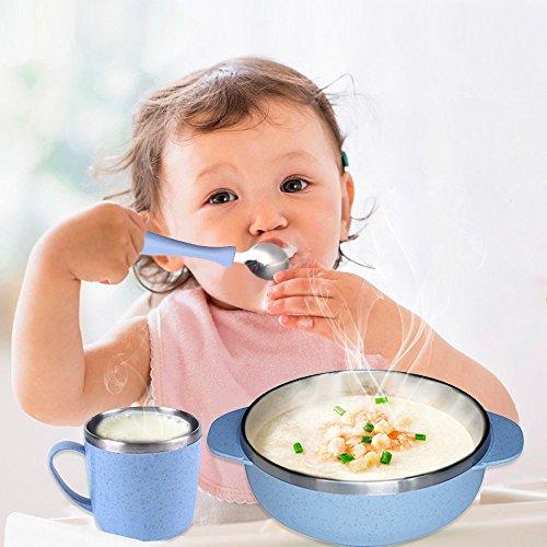 5 teile / satz Kinder Geschirr mit Schüssel, Gabel, Löffel, Tasse und Gabel, Eco Friendly Gesunde Weizen Stroh Geschirr für Kinder Kleinkinder (blau) (Kleinkind-schüssel-satz)