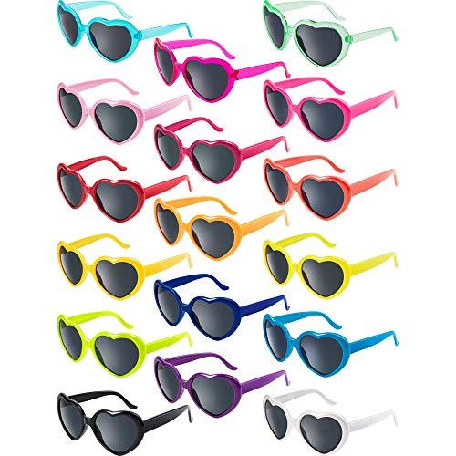 Blulu 17 Paar Neon Farben Herz Form Sonnenbrillen für Party Favor Supplies Urlaub Zubehör Kollektion
