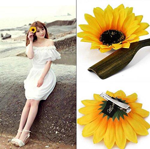 6Schönes Sunflower Haar Alligator Clips Haar Klammer Haar-Styling-Zubehör für Lady Mädchen Party Beach Vacation Hochzeit Dekoration