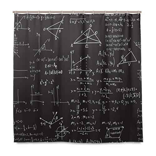 BIGJOKE Duschvorhang, mathematische Bildung, schimmelresistent, wasserdicht, Polyester-Stoff, 12 Haken, 183 x 183 cm, Heimdekoration - Wissenschaft Duschvorhänge