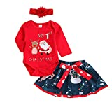 Vovotrade ? Newborn Baby Girl Natale Set Letters Deer Tuta Hare + Short Skirt + Hair Strap Set 3 Pezzi