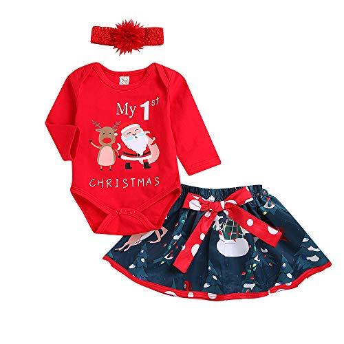 aby Mädchen Weihnachten Brief Strampler Tops Hirsch Tutu Rock Outfit Set Baby Langarm Weihnachtsbuchstaben Hirsch Haber Kurzer Rock Set (70, Rot) ()