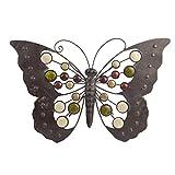 Gardens2you Wand Deko Figur Rustikaler Schmetterling mit Schmucksteinen aus Metall