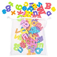 100 Bath Letters and Numbers Toys - Suitable for Kids & Babies - 26 Letters of The Alphabet in Brightly Coloured Foam - Perfect for Baby Bathtub Play & Learning