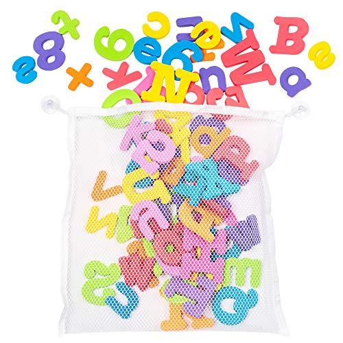 100 Stück Badespielzeug Badewannenspielzeug - Geeignet für Kinder & Babys - 100 Buchstaben des Alphabets Gross und Klein Buchstahen aus farbenfrohem Schaumstoff - Perfekt zum Spielen & Lernen