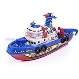 Symboat Regali di bambini non remoti del giocattolo non-remoto della barca di combattimento di salvataggio di energia solare leggera elettrica di musica