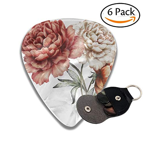 Wxf Red Peonies Watercolor Flowers Floral Illustration In Pastel Colors Bouquet Of Flowers Isolated Colorful Celluloid Guitar Picks Plectrums For Guitar Bass 6 Pack.96mm Floral Bouquet-box