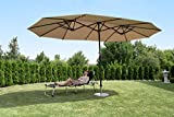 Sekey 270 × 460 cm Aluminium Doppelsonnenschirm Marktschirm Gartenschirm Terrassenschirm Sonnenschutz UV50+ Taupe