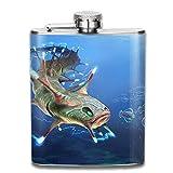 Fiaschette Presock, Electric Sea Fish 304 Food Grade Stainless Steel Flask 7 Oz Best Birthday Gift Present for Women Men