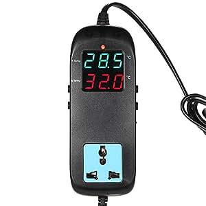 KKmoon Thermostat de Thermocouple de contrôleur de température Affichage à LED avec prise AC 90V ~ 250V pour reproduction
