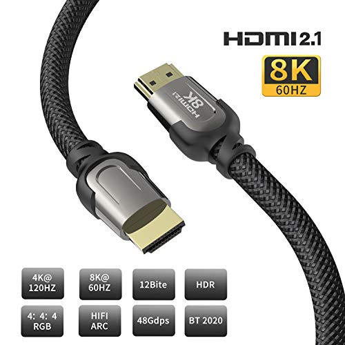 8K HDMI-Kabel, AUDIANO 8K HDMI 2.1 Kabel, 8K, Hochgeschwindigkeits-48-Gbit/s-8K bei 60 Hz, 7680P Dolby Vision, HDCP 2.2, 4: 4: 4-HDR, eARC-kompatibel mit Apple TV, Samsung QLED-3 Meter -