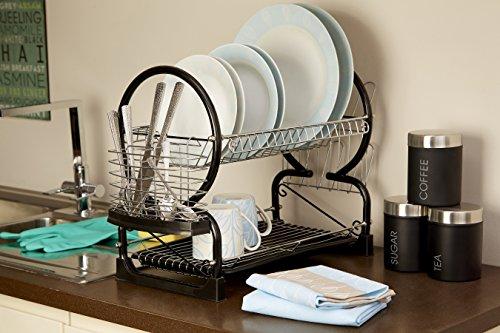 Premier Housewares 2-Tier Dish Drainer, 56 cm - Black Img 3 Zoom