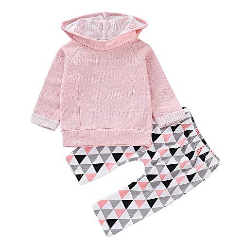 Vêtements Fille,Nourrisson Bébé Filles Garçons Solide Capuche Sweatshirt Tops Ensemble De Tenues Pantalons Géométriques (18-24 mois, Rose)