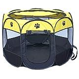 Xinanlongjb Schöner Oxford-Stoff-wasserdichter Hundezelt-faltbarer achteckiger Haustier-Zaun im Freien, M, Größe: 91 x 91 x 58cm (Color : Yellow)