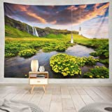 gthytjhv arazzi Morning Waterfall River Summer Colorful Sunrise Europe Artistic Waterfall Landscape Nature Mountain SceneryDecorative Tapestry, Wall Hanging Tapestry for Bedroom Living Room